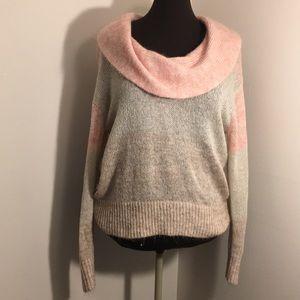 LANE BRYANT Pink Ombré Cowl Neck Sweater